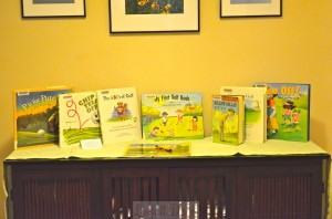 Book and Guest Book Table: I checked out some golf-themed children's books from our local branch of the Atlanta library.  I LOVE the library, especially being able to put books on hold.  I can search the library's catalog online and request the copy to be sent to my local branch.  If the books are not checked out, it usually only takes a day or two.